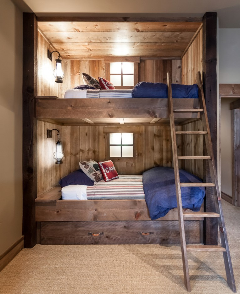 Cozy Cheap Bunk Beds For Kids With Area Rugs And Laminate Flooring Combined With Picture On The Wall For Kids Bed Room Ideas