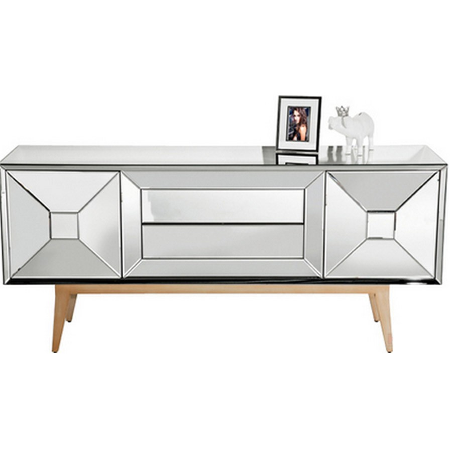 Cozy mirrored sideboard with knobs silver color and with decorative pattern design mirrored sideboard ideas