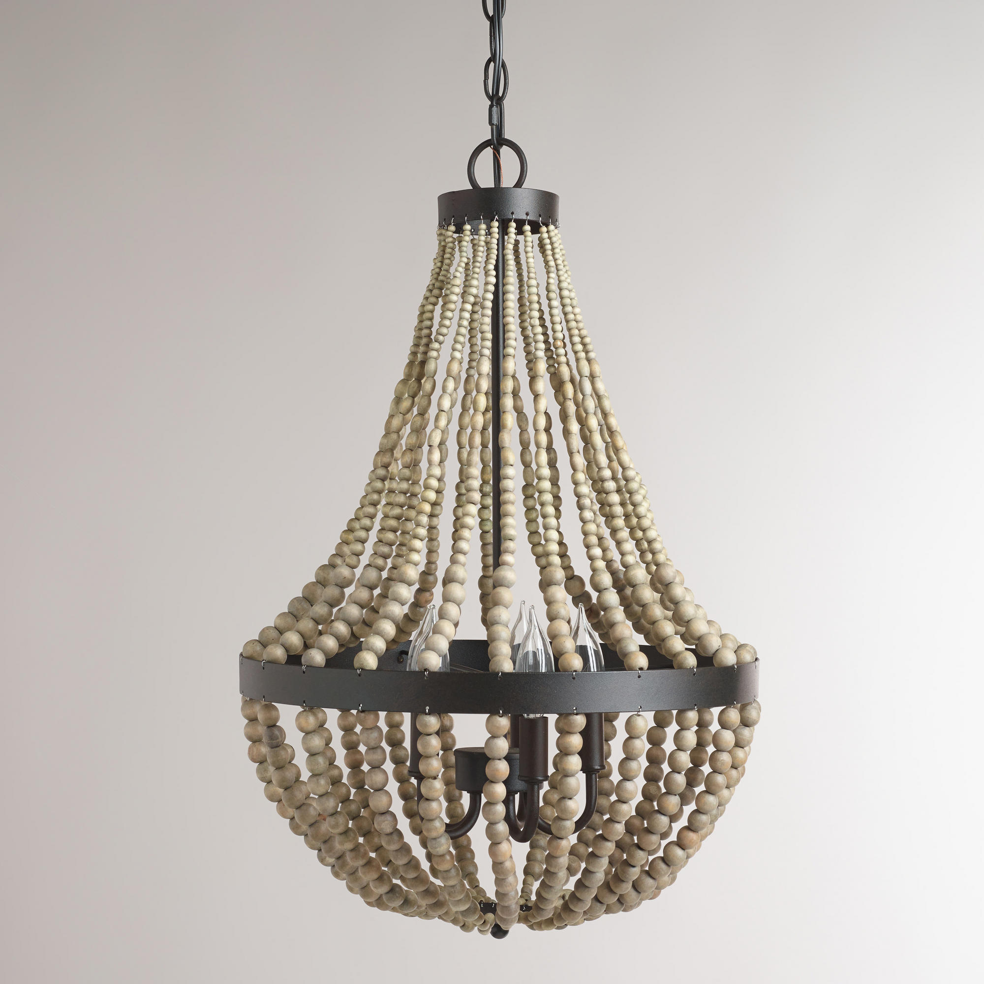 Cozy white wood bead chandelier with Ceiling Light Fixture Furnishing for living room Ideas