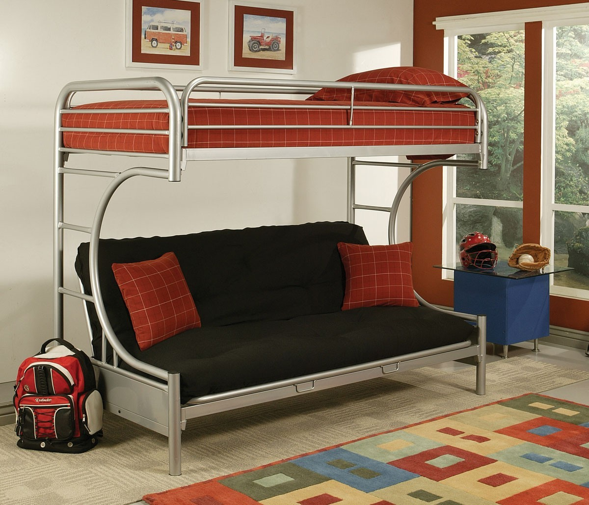 Creative cheap bunk beds for kids with area rugs and laminate flooring combined with picture on the wall for kids bed room ideas
