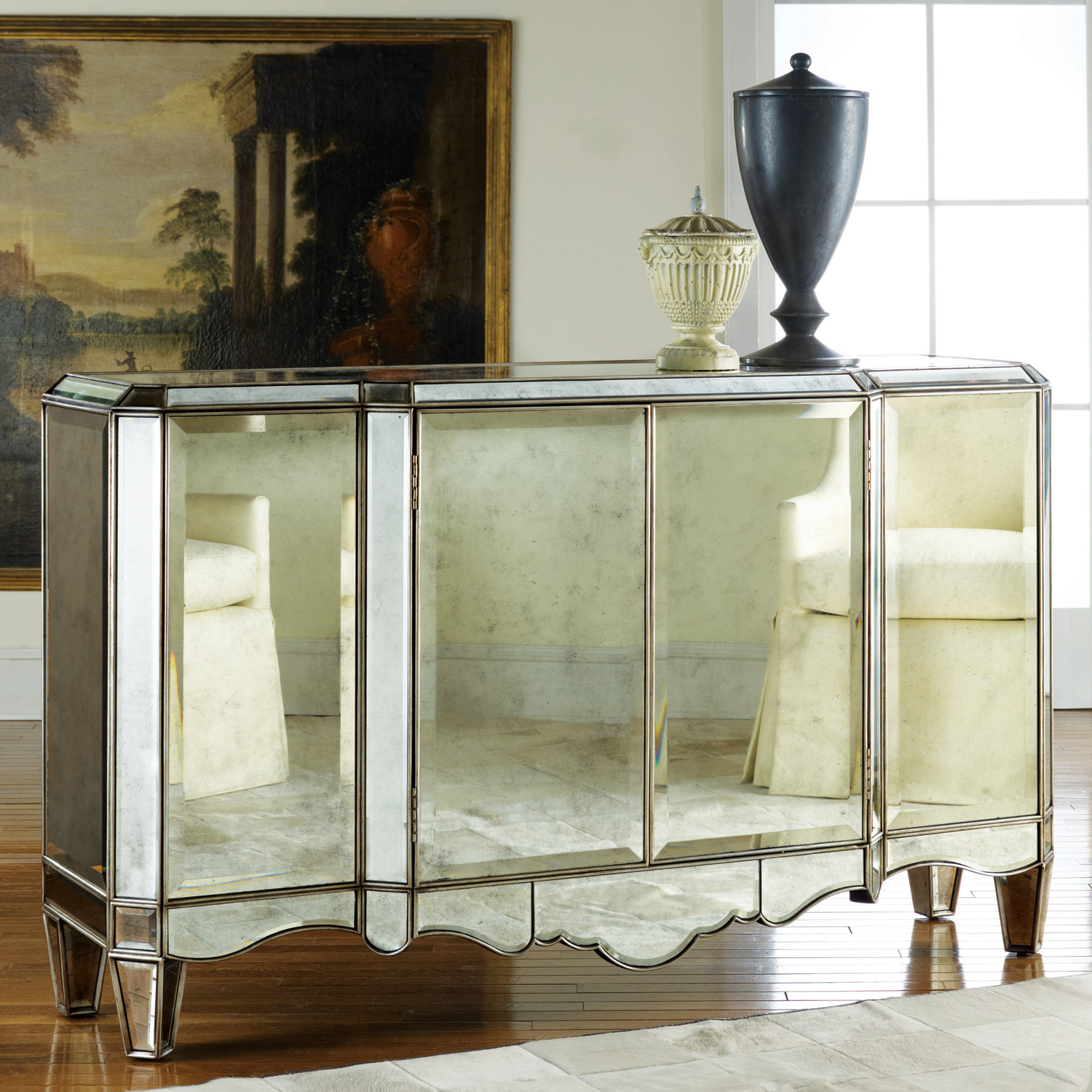 Creative mirrored sideboard with knobs silver color and with decorative pattern design mirrored sideboard ideas