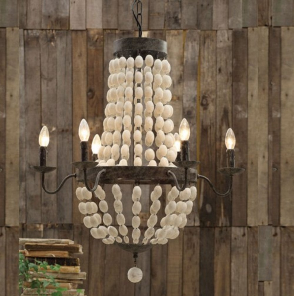Creative white wood bead chandelier with Ceiling Light Fixture Furnishing for living room Ideas