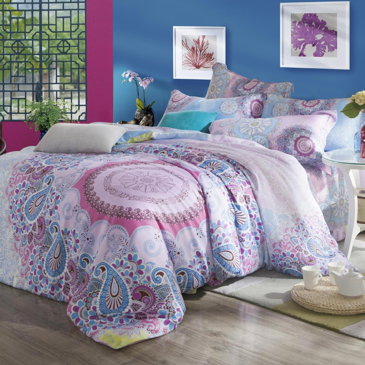 Cute Queen and King Bed size bohemian duvet covers with unique pattern for Bed room Furniture Ideas