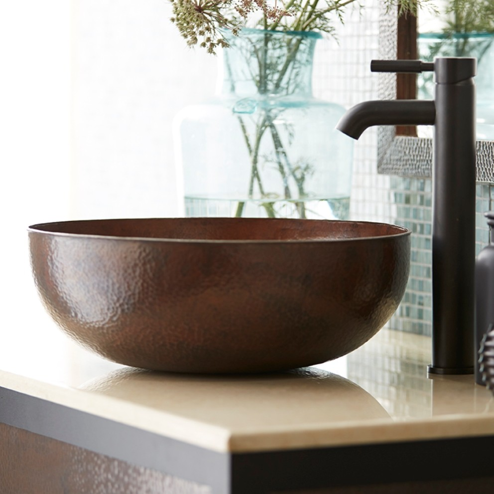 Cute copper vessel sinks with towel and faucets plus wastafel for bathroom ideas