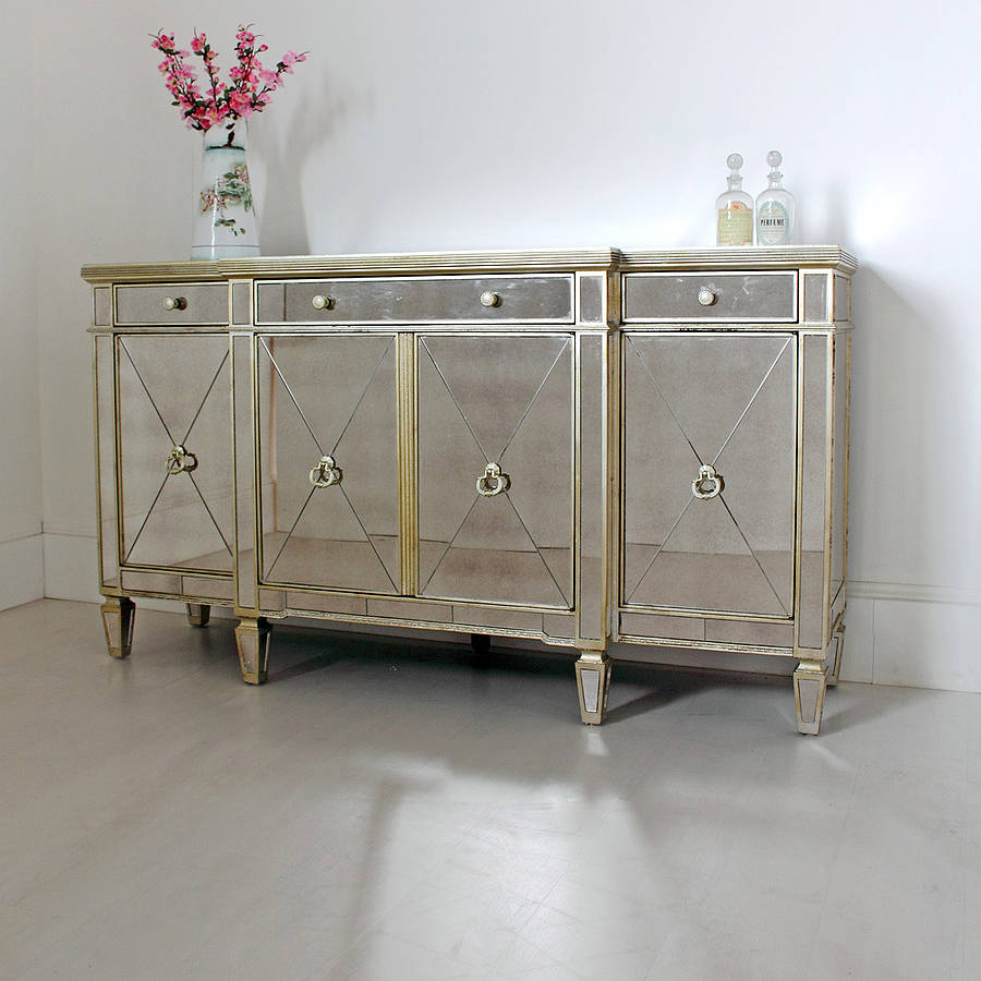 Cute mirrored sideboard with knobs silver color and with decorative pattern design mirrored sideboard ideas