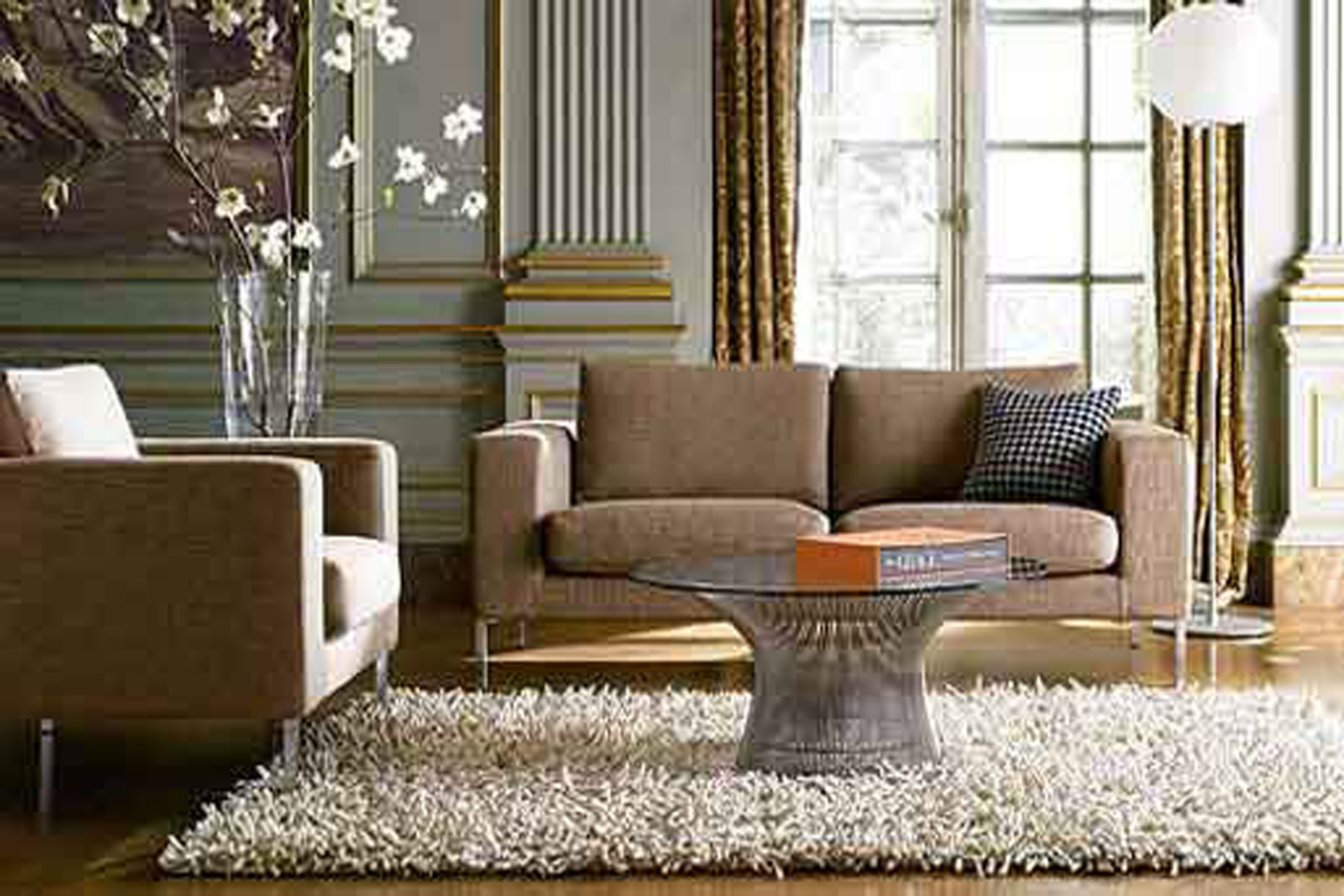 Cute white fur rug with Best wooden laminate flooring and sofa chairs for living room Ideas