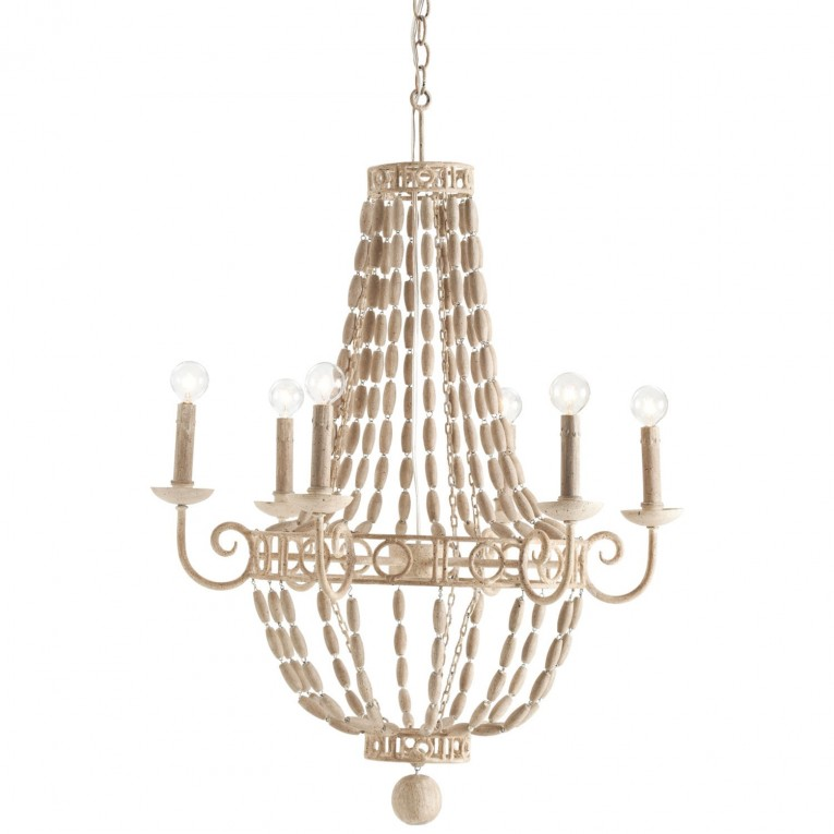 Cute White Wood Bead Chandelier With Ceiling Light Fixture Furnishing For Living Room Ideas