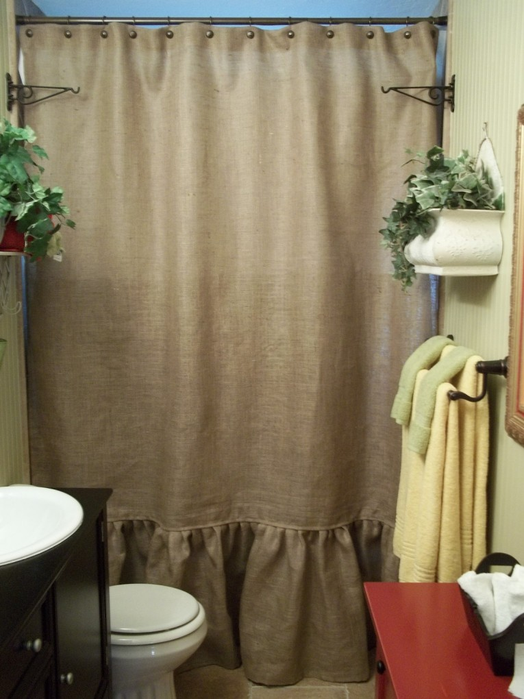 Dazzling Design Color Bathroom With Burlap Shower Curtain For Make Your Bathroom Interior More Awesome