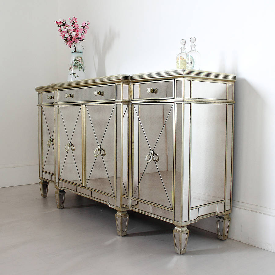 Dazzling mirrored sideboard with knobs silver color and with decorative pattern design mirrored sideboard ideas
