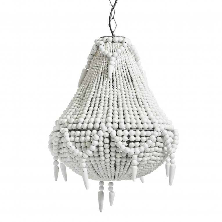 Dazzling White Wood Bead Chandelier With Ceiling Light Fixture Furnishing For Living Room Ideas