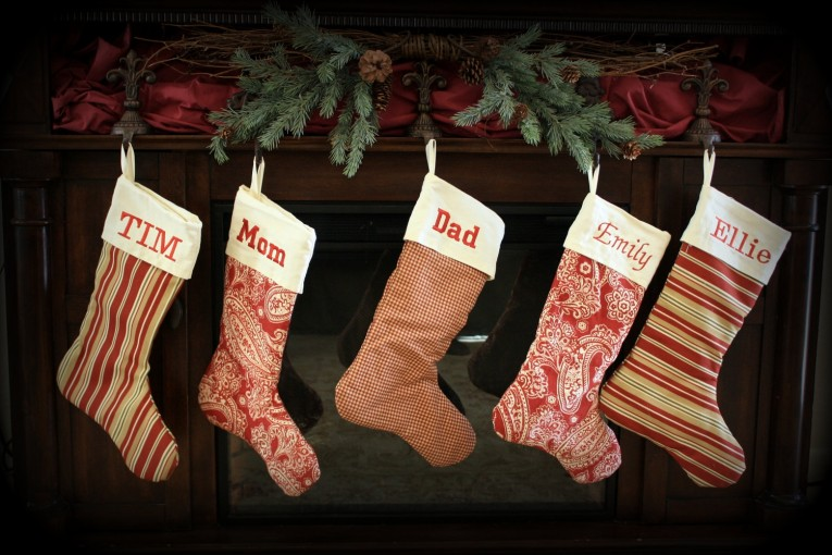 Deluxe Monogrammed Stockings In The Christmas Display For Living Room Ideas