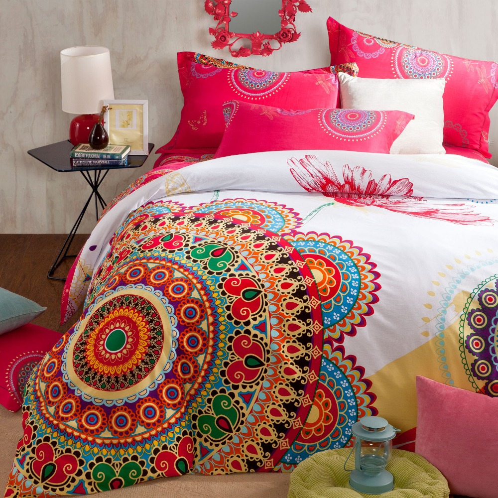 Elegant Queen and King Bed size bohemian duvet covers with unique pattern for Bed room Furniture Ideas