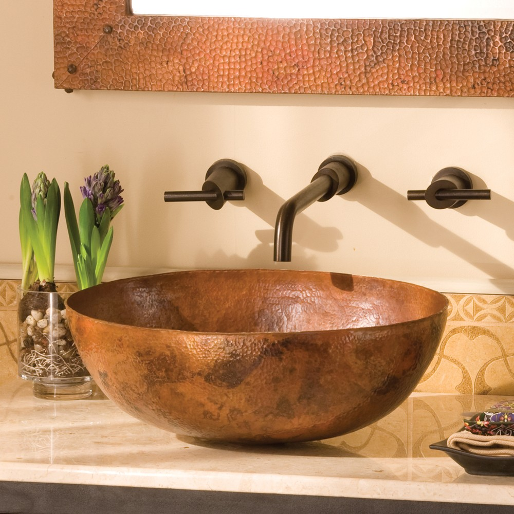 Elegant copper vessel sinks with towel and faucets plus wastafel for bathroom ideas