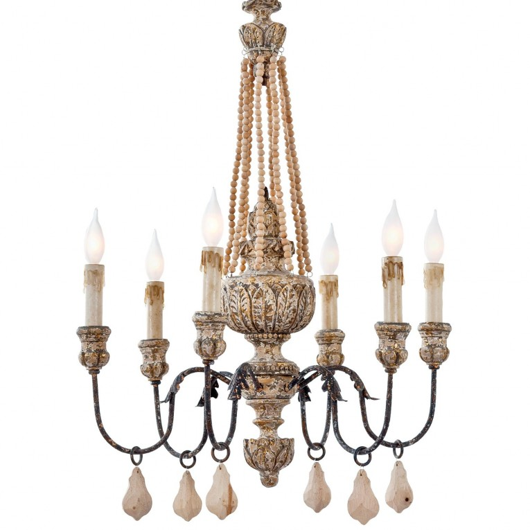 Elegant White Wood Bead Chandelier With Ceiling Light Fixture Furnishing For Living Room Ideas