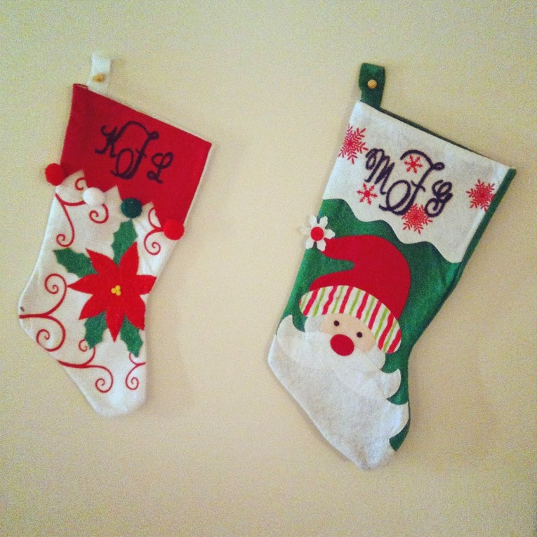 Elegantly Family Display Monogrammed Stockings In The Christmas Display For Living Room Ideas
