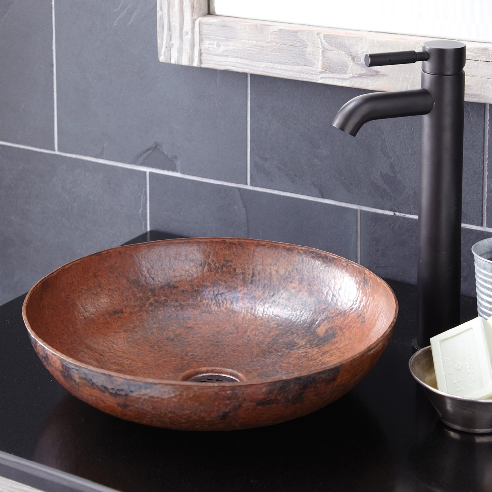 Enchanting copper vessel sinks with towel and faucets plus wastafel for bathroom ideas