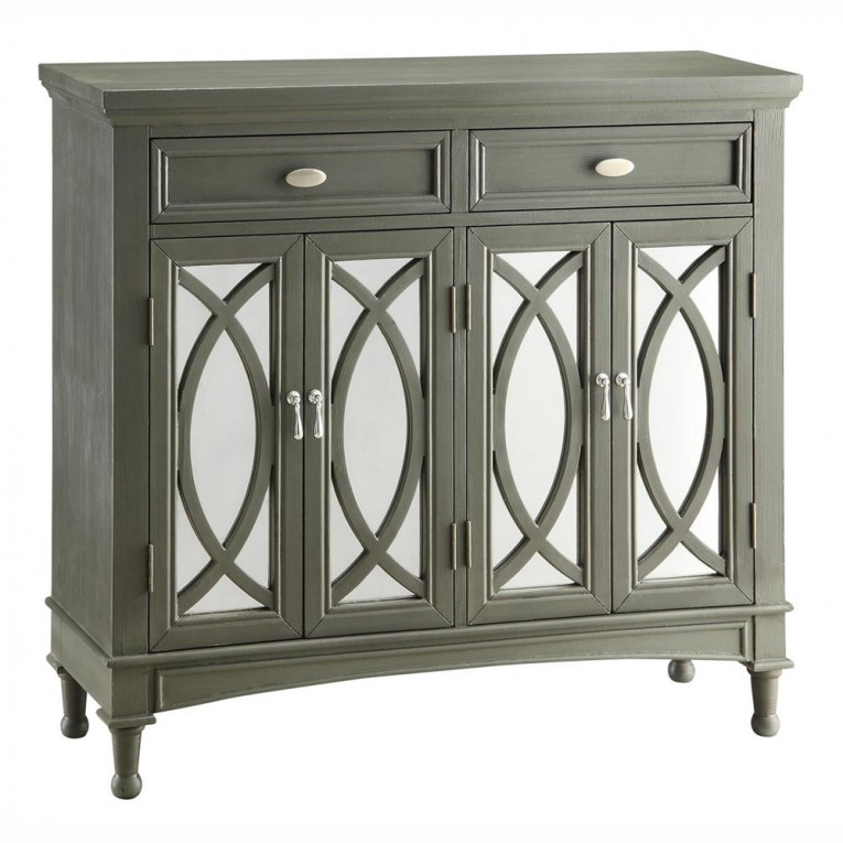 Enchanting Mirrored Sideboard With Knobs Silver Color And With Decorative Pattern Design Mirrored Sideboard Ideas