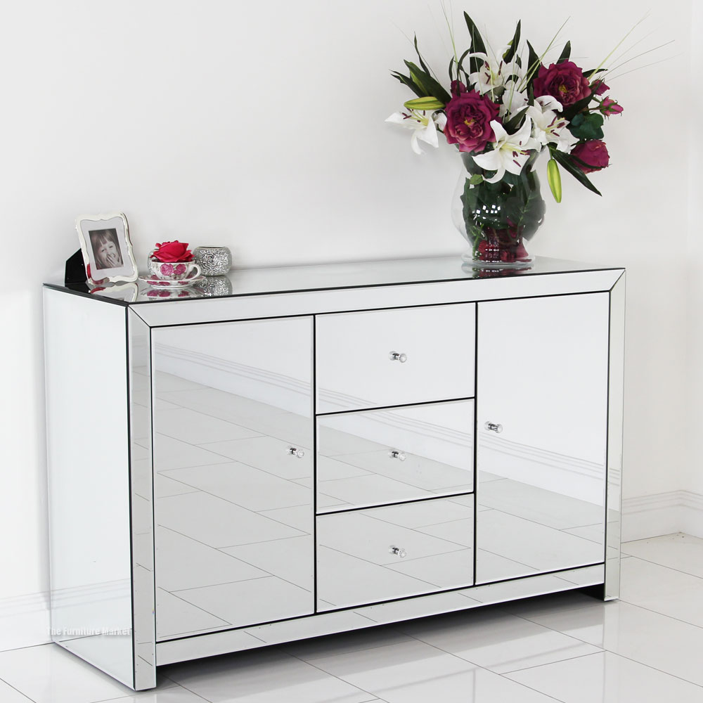 Endearing mirrored sideboard with knobs silver color and with decorative pattern design mirrored sideboard ideas