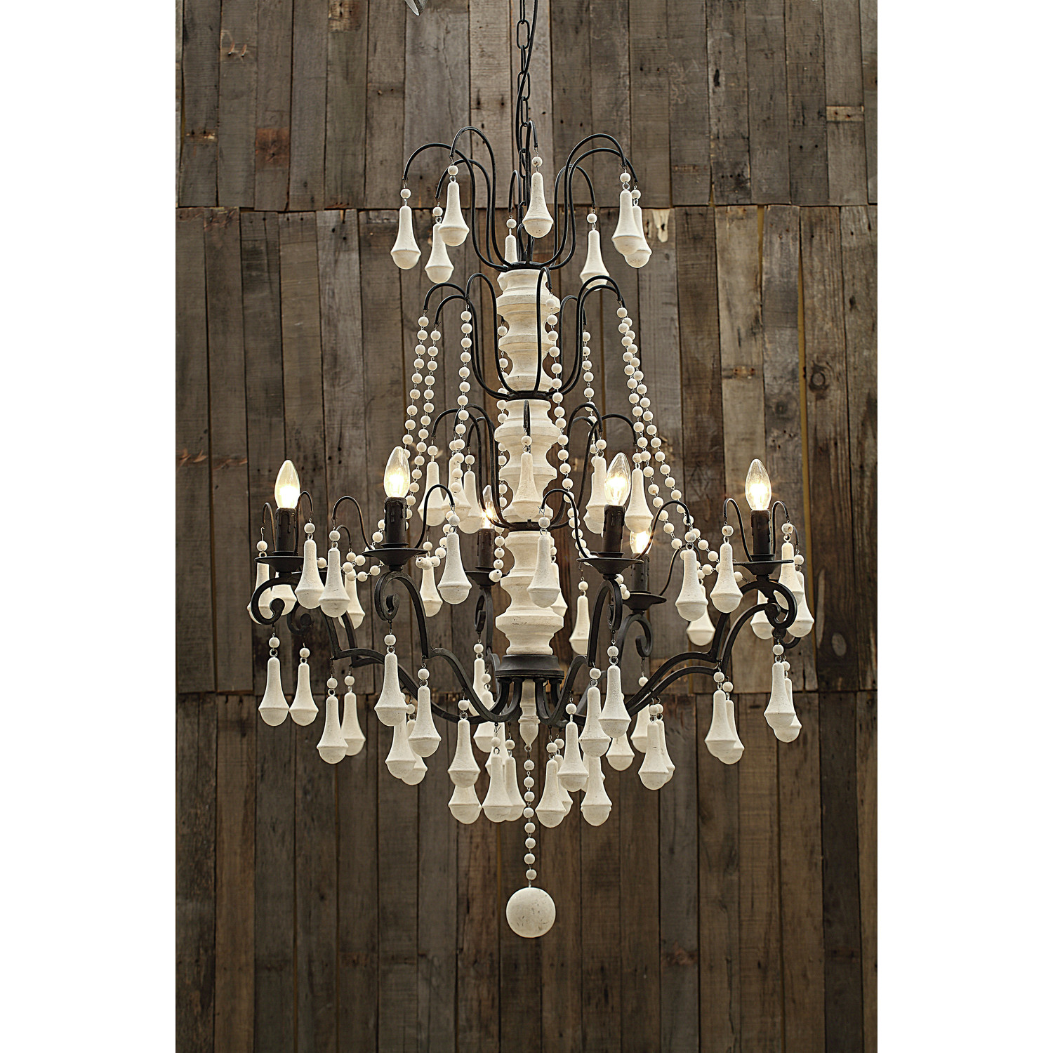 Endearing white wood bead chandelier with Ceiling Light Fixture Furnishing for living room Ideas