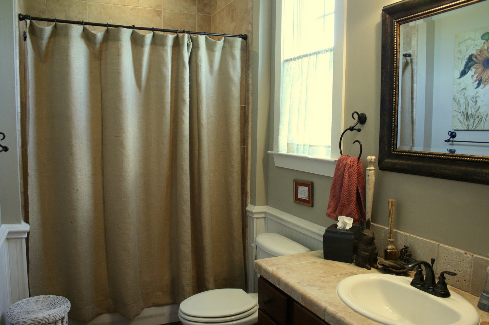 Engaging Design Color Bathroom with burlap shower curtain for make your Bathroom Interior more Awesome