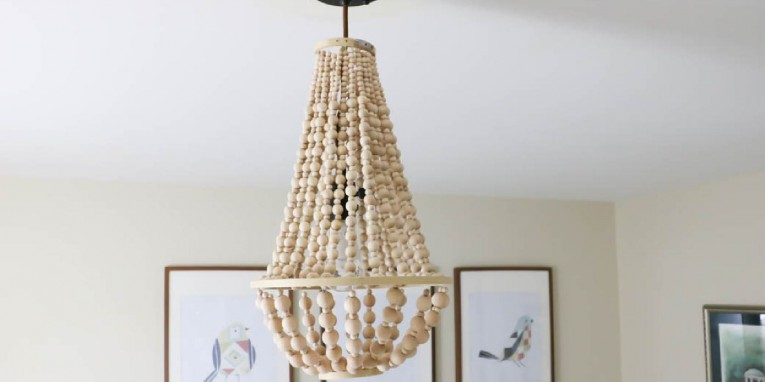 Engaging White Wood Bead Chandelier With Ceiling Light Fixture Furnishing For Living Room Ideas