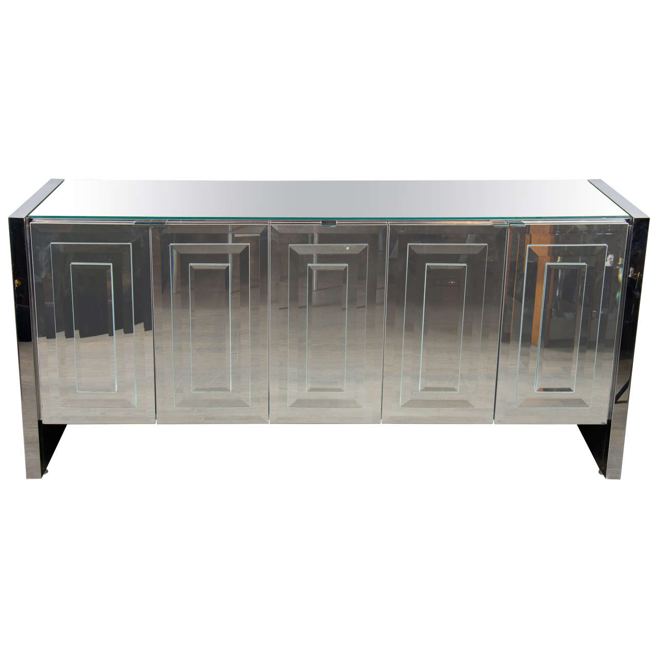 Enticing mirrored sideboard with knobs silver color and with decorative pattern design mirrored sideboard ideas