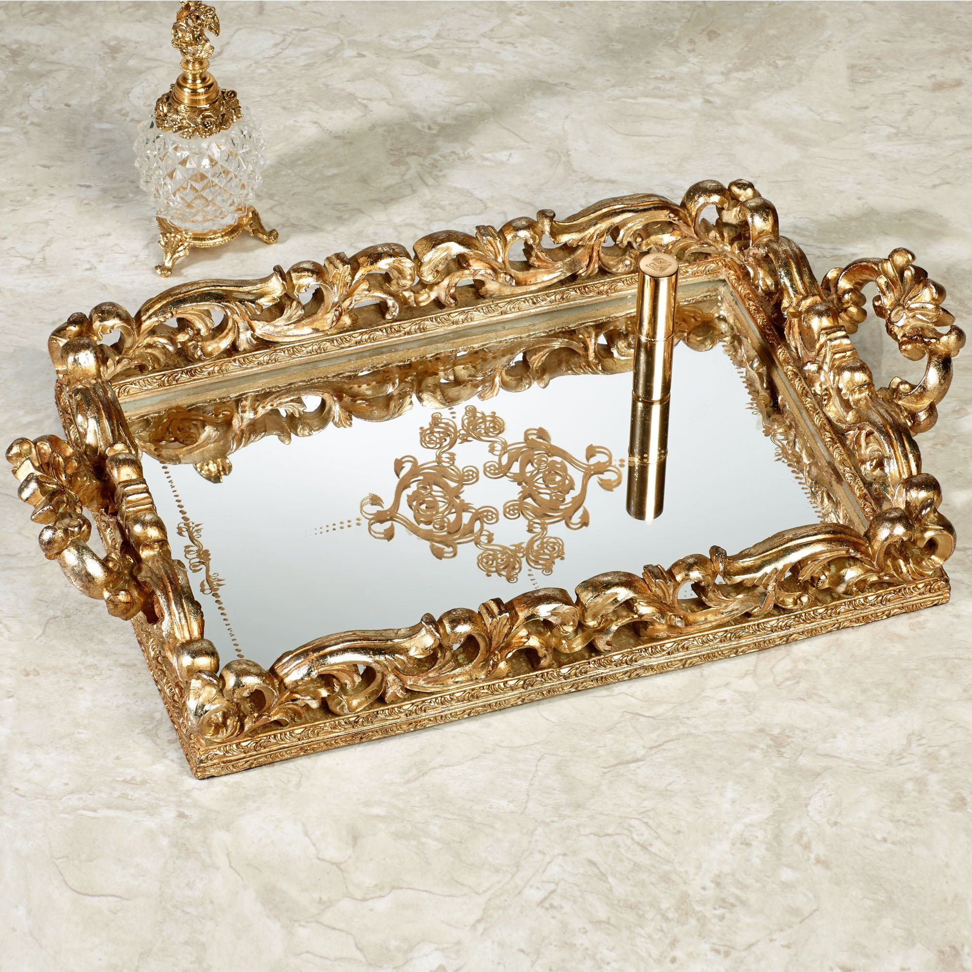 Extravagant golden design mirror tray with modern design