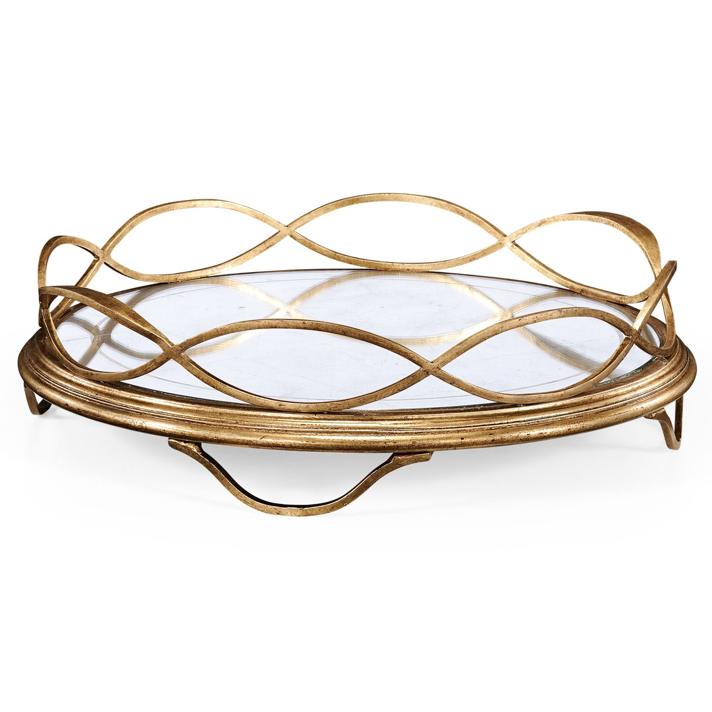 Extravagant mirror tray golden design