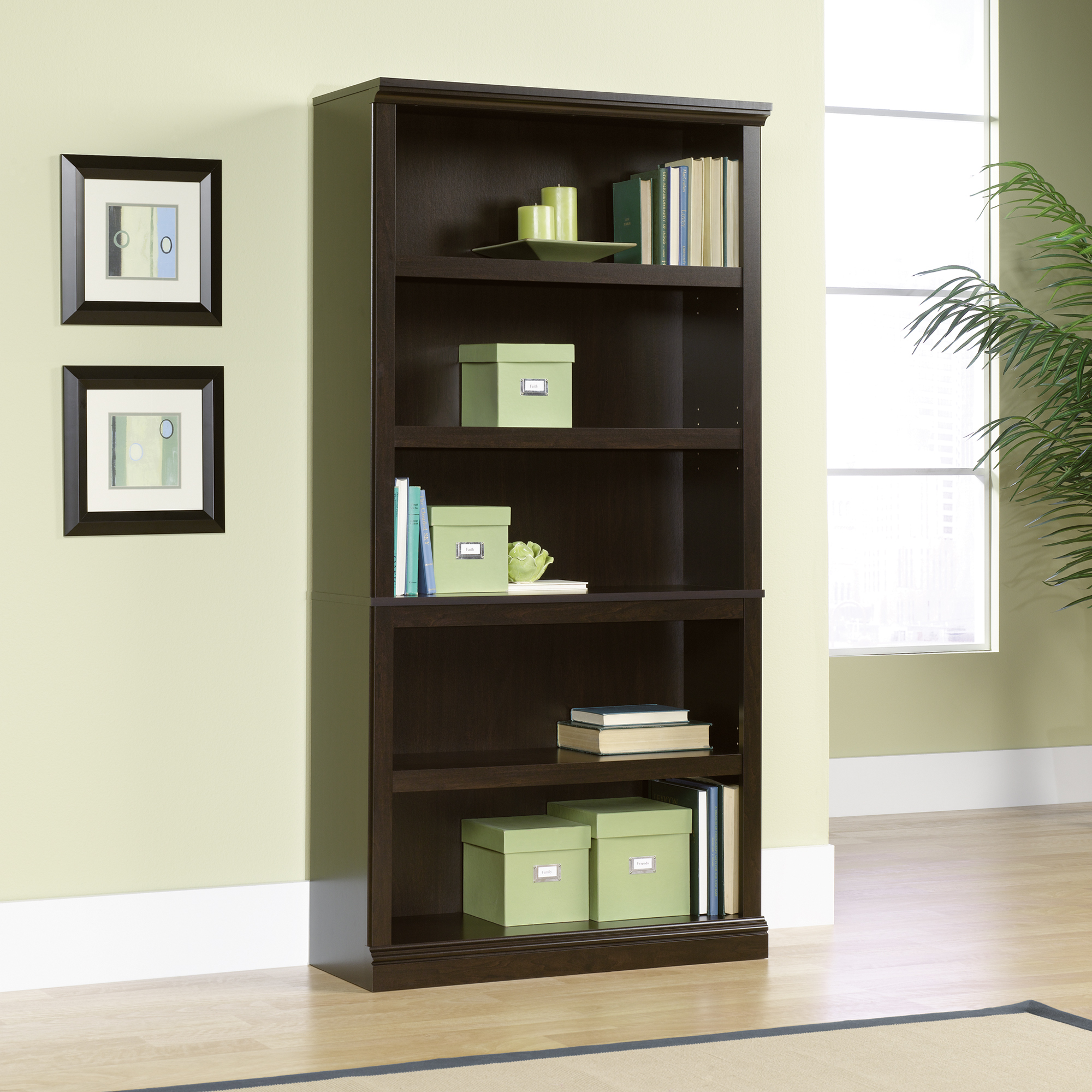 Fabulous design sauder bookcases with rugs and laminate flooring plus window treatments for Living Room Ideas