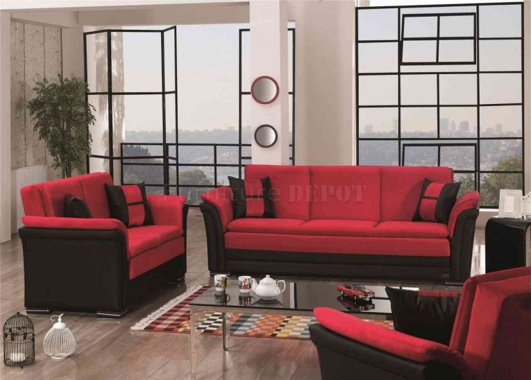 Fascinating Dinette Depot With Red Sofa And Glass Table Plus Jute Rugs