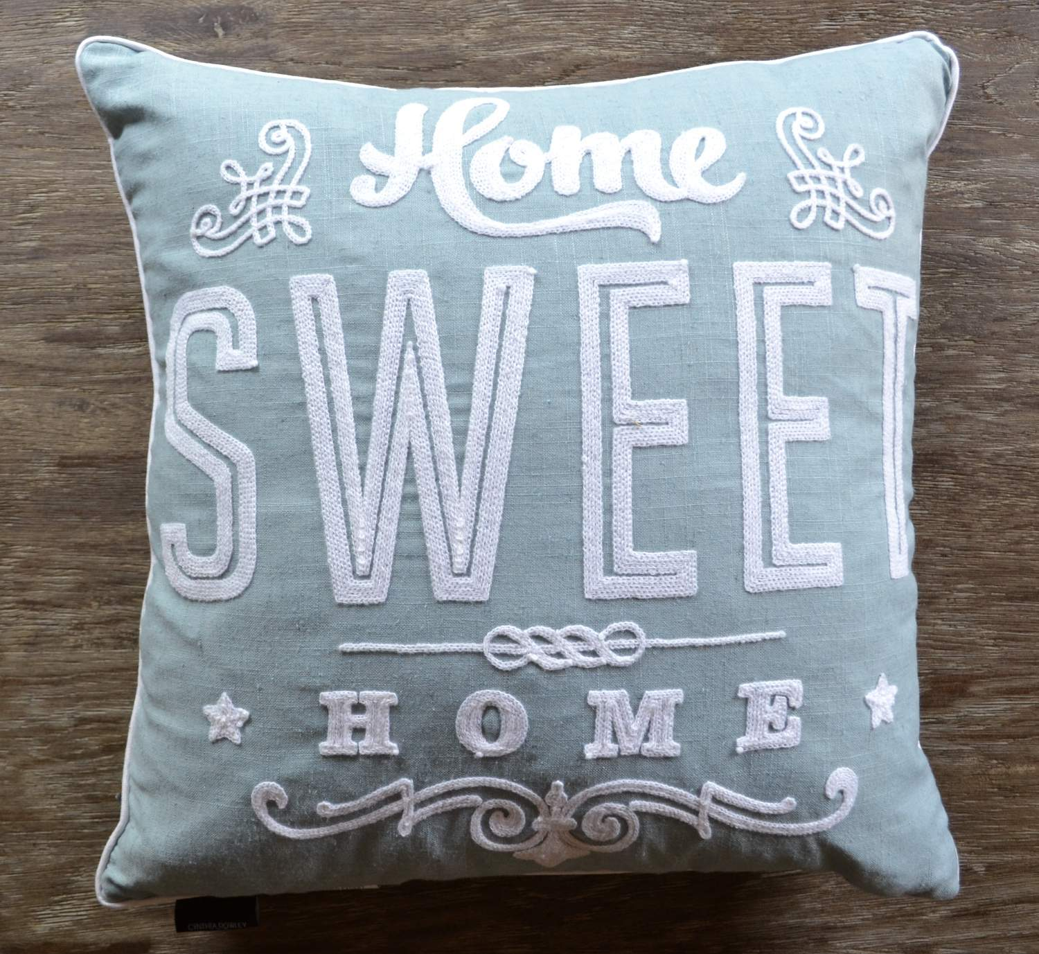 cynthia rowley crochet aqua white pillow home sweet home