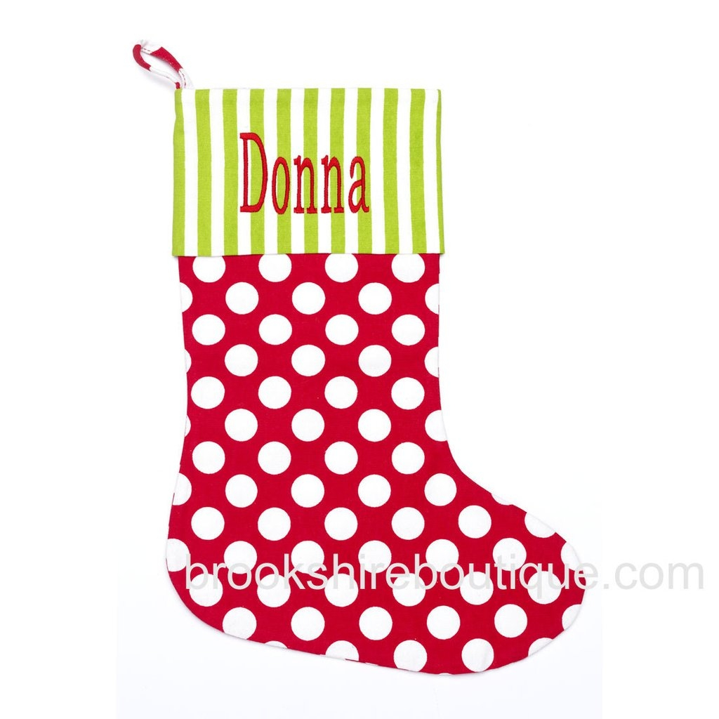 Luxury design monogrammed stockings in the christmas display for living room ideas