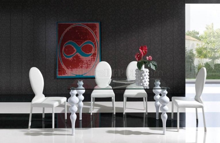 Mesmerizing Dinette Depot White Chairs And Rectangular Glass Table