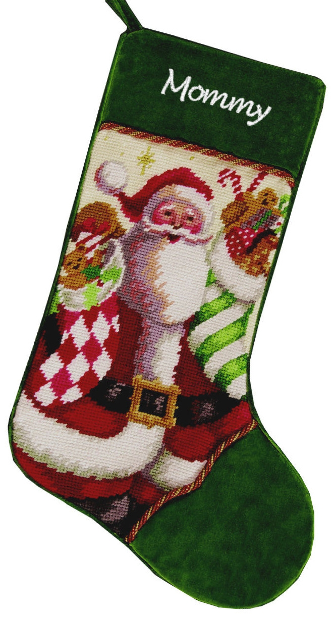 Santa pattern monogrammed stockings in the christmas display for living room ideas