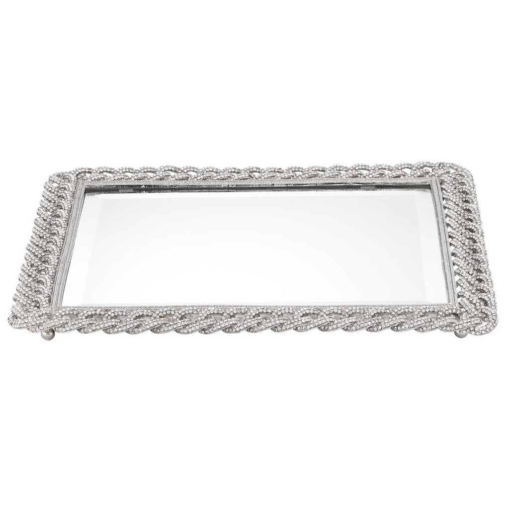 Silver Frame Design Mirror Tray With Modern Design