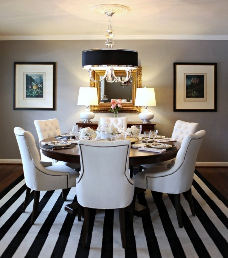 Wondrous Dinette Depot With Sofa Chairs And Round Table Also Black Stripe Area Rugs