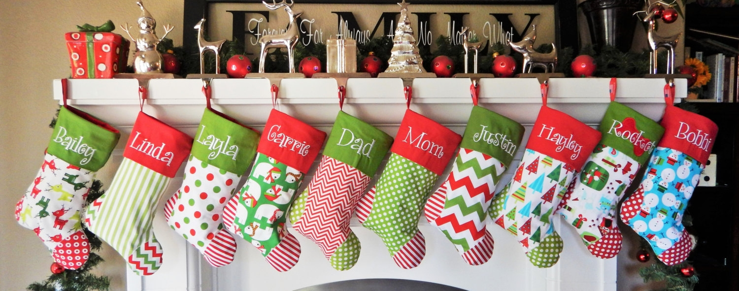 Wondrous family display monogrammed stockings in the christmas display for living room ideas