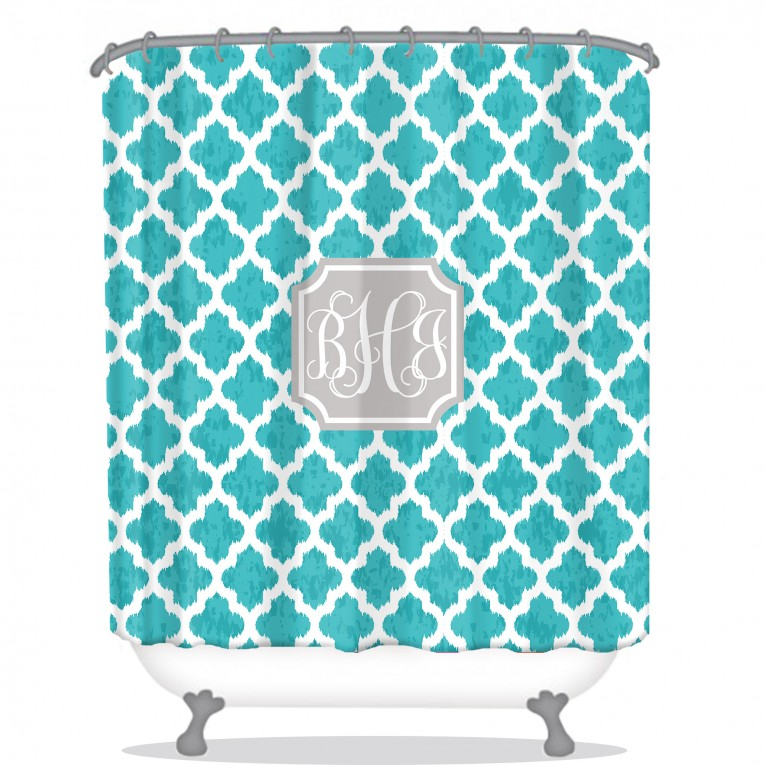 Wondrous Monogrammed Shower Curtain With Best Combination Color Design And Pattern Ideas