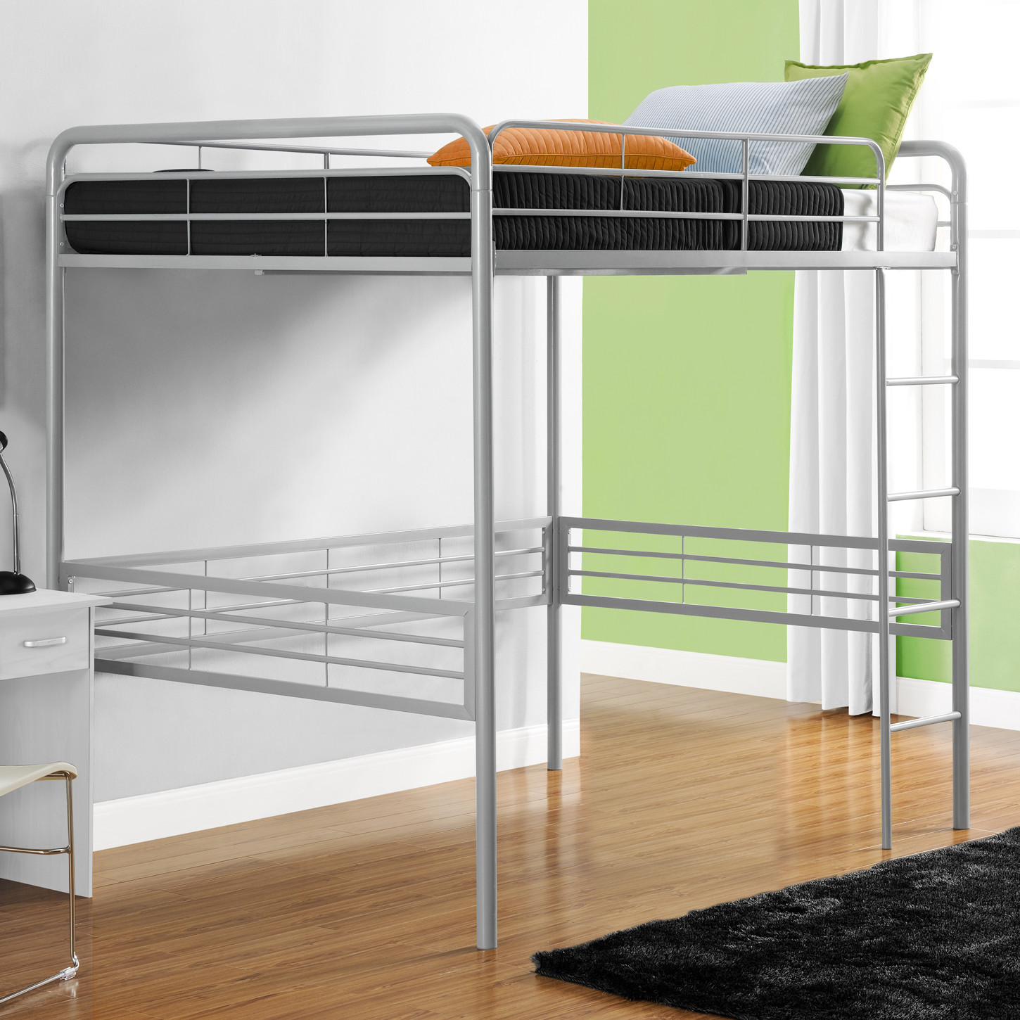 aluminium cheap loft beds with black rugs and laminate flooring