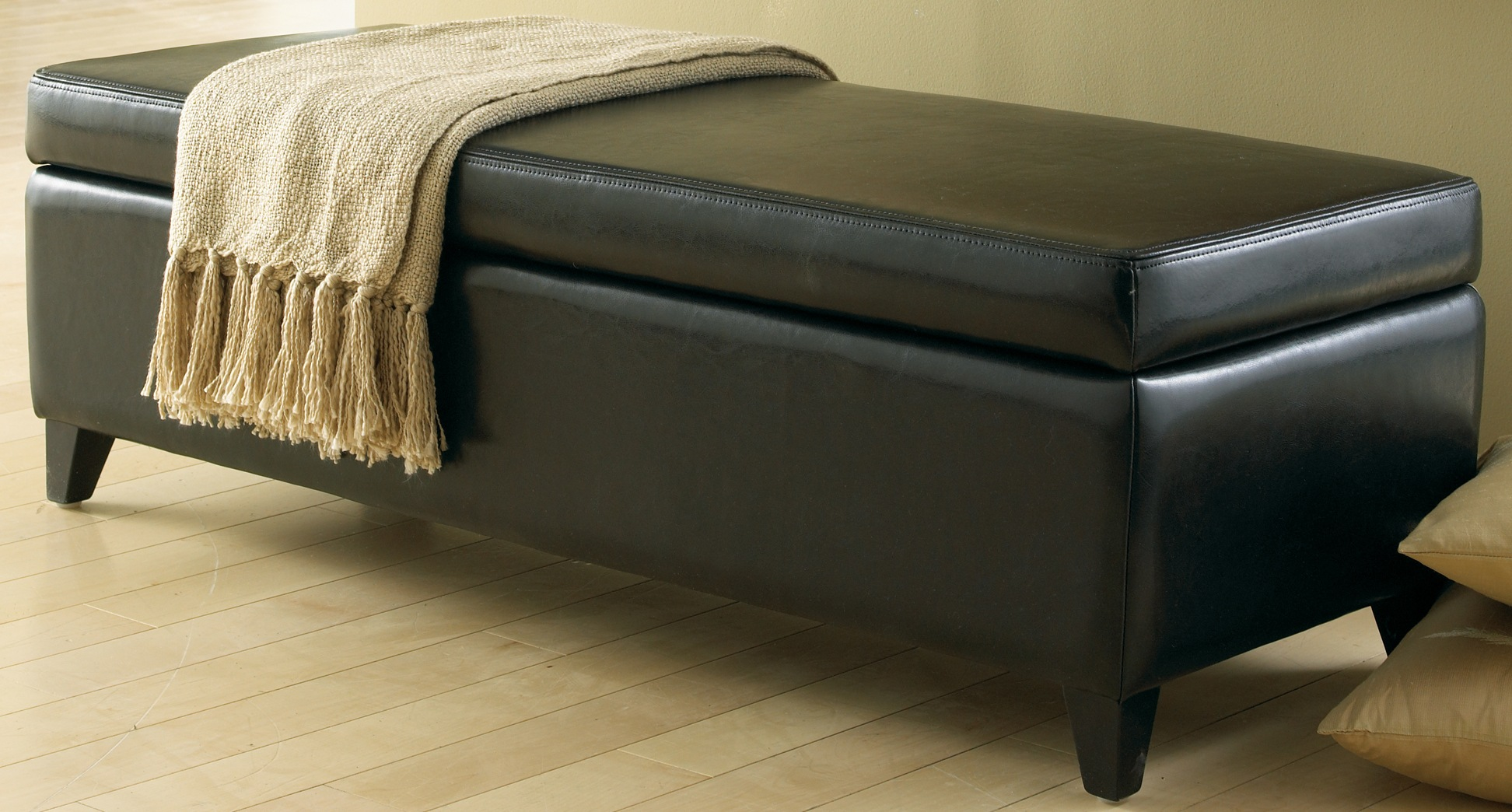 Marvelous Amazing Black Leather Storage Benches