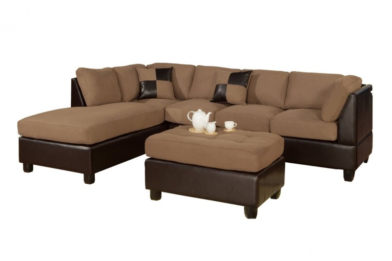 Amazing Brown Sectionals Sofas With Fabric Coffee Table