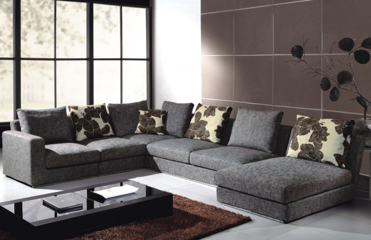 Amazing Gray Sectionals Sofas With Coffee Table Glass And Brown Area Rugs