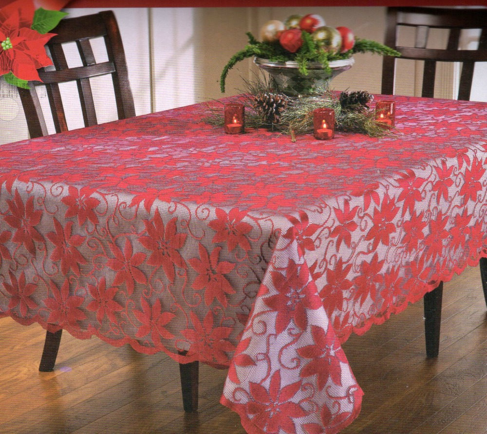 amusing red flower pattern oblong tablecloth for home decorating ideas