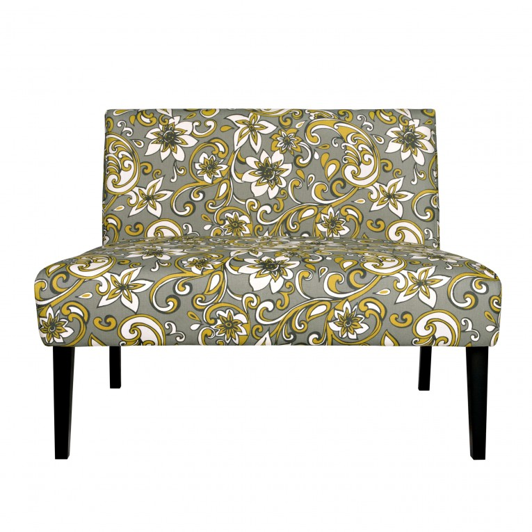 Armless Settee Nile Lily Floral Gray Design