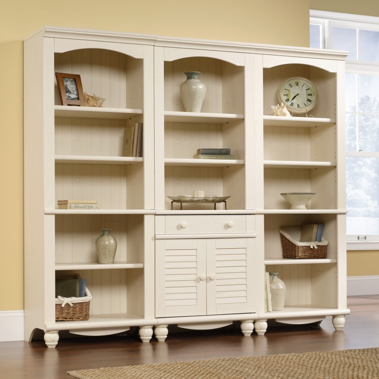 Awesome Sauder Bookcases With Rugs And Laminate Flooring Plus Window Treatments For Living Room Ideas
