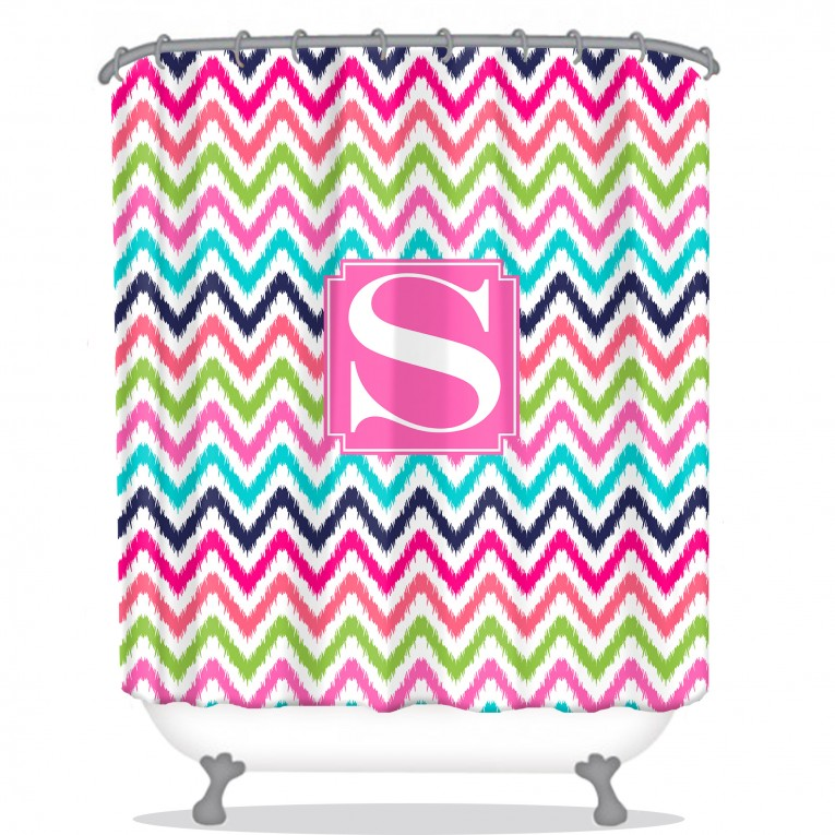 Beautiful Chevron Design Monogrammed Shower Curtain With Best Combination Color Design And Pattern Ideas