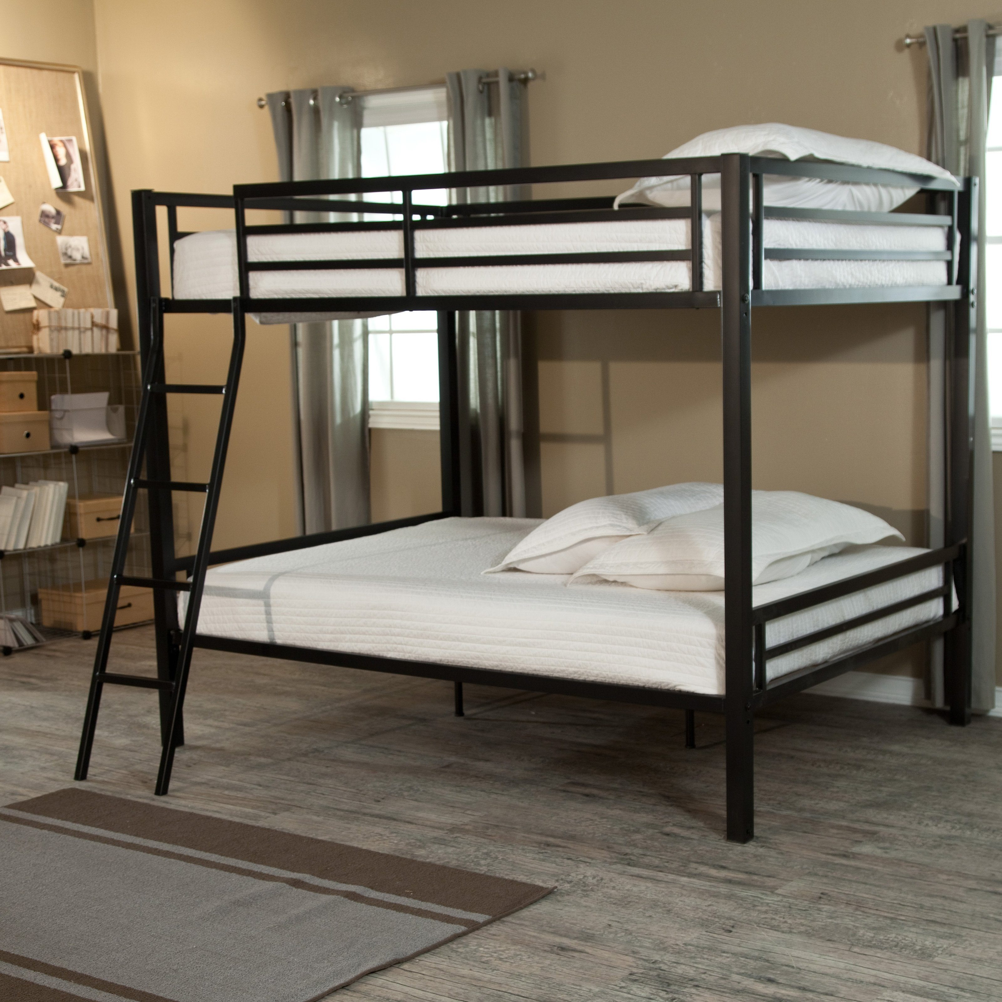 Remarkable Cheap Loft Beds with High Quality for Bedroom: Black Aluminium Cheap Loft Beds With Rectangular Rugs And Hardwood Flooring