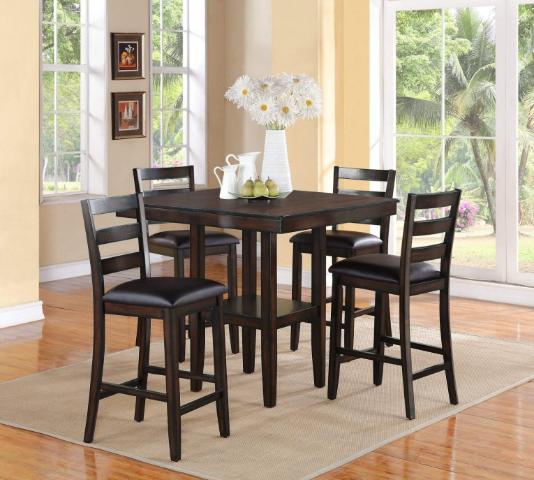 Black Reeds Furniture With Counter Hetight Stools And Dining Table