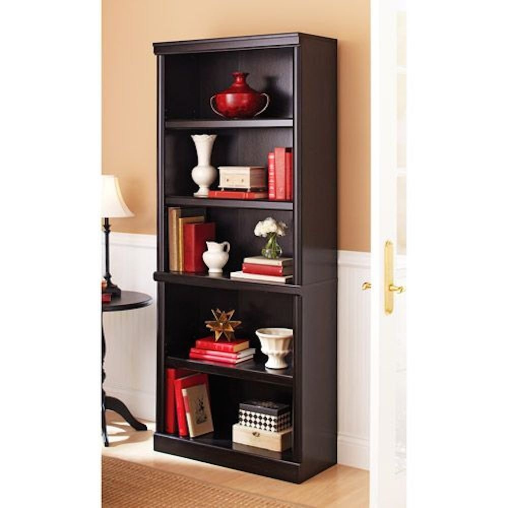 black sauder bookcases book cases and jute rugs also round table