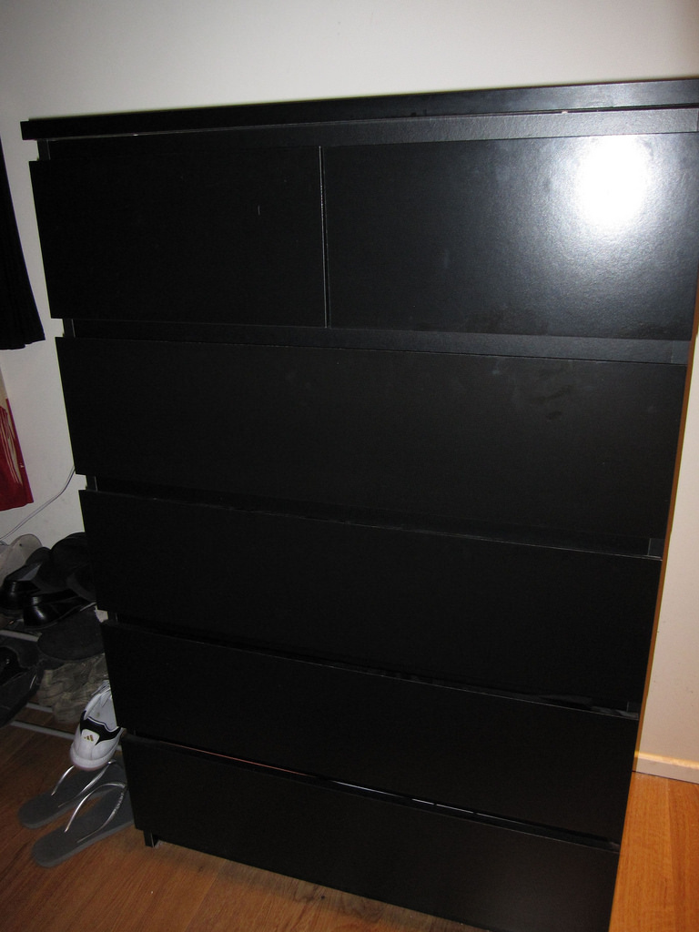 Black Stand Malm 6 Drawer Dresser